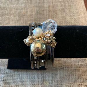 Jewelry - Silver Tone & White Rhinestone Bracelet